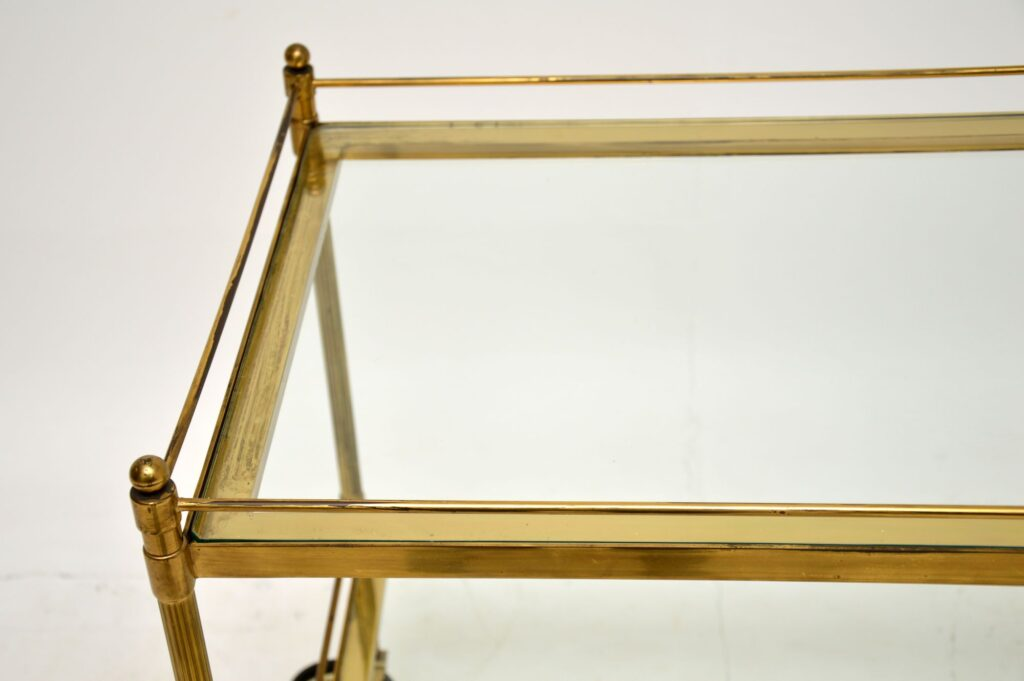 retro vintage antique art deco french brass drinks trolley