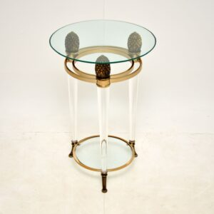 retro vintage italian glass lucite perspex side table
