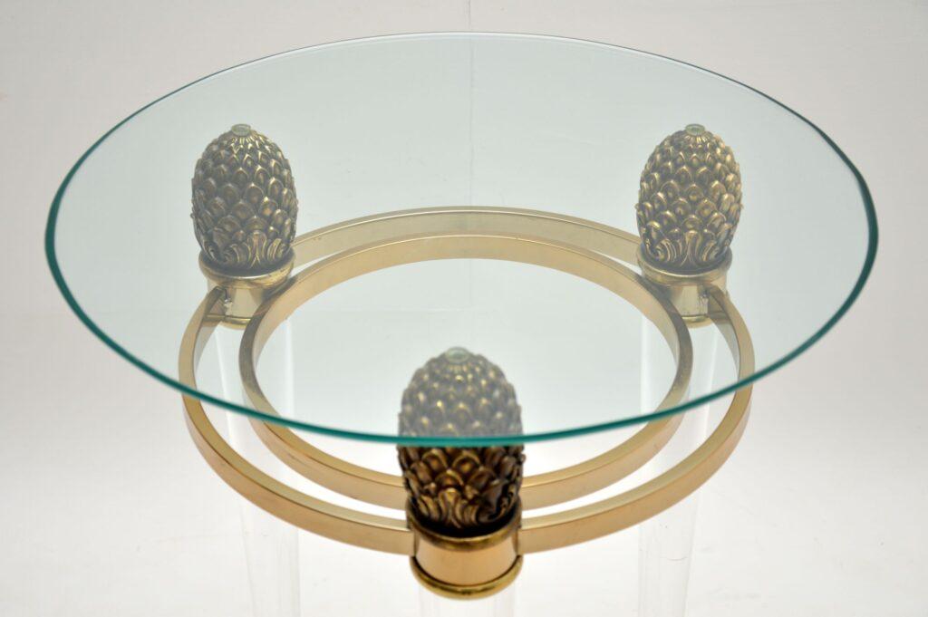 retro vintage italian glass lucite perspex side table