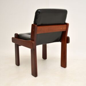 retro vintage rosewood leather dining table chairs