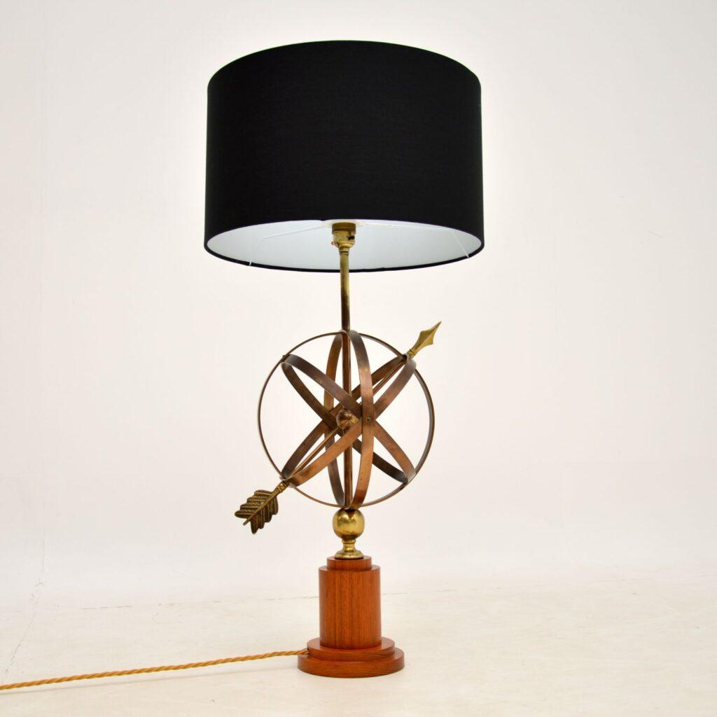 retro vintage brass teak armillary lamp