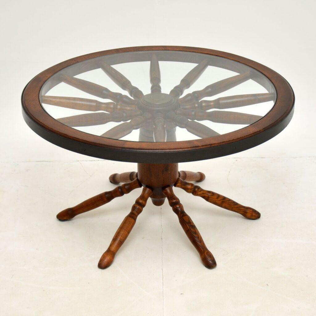 retro vintage antique wagon wheel coffee table