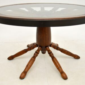 Vintage Glass Top Wagon Wheel Coffee Table