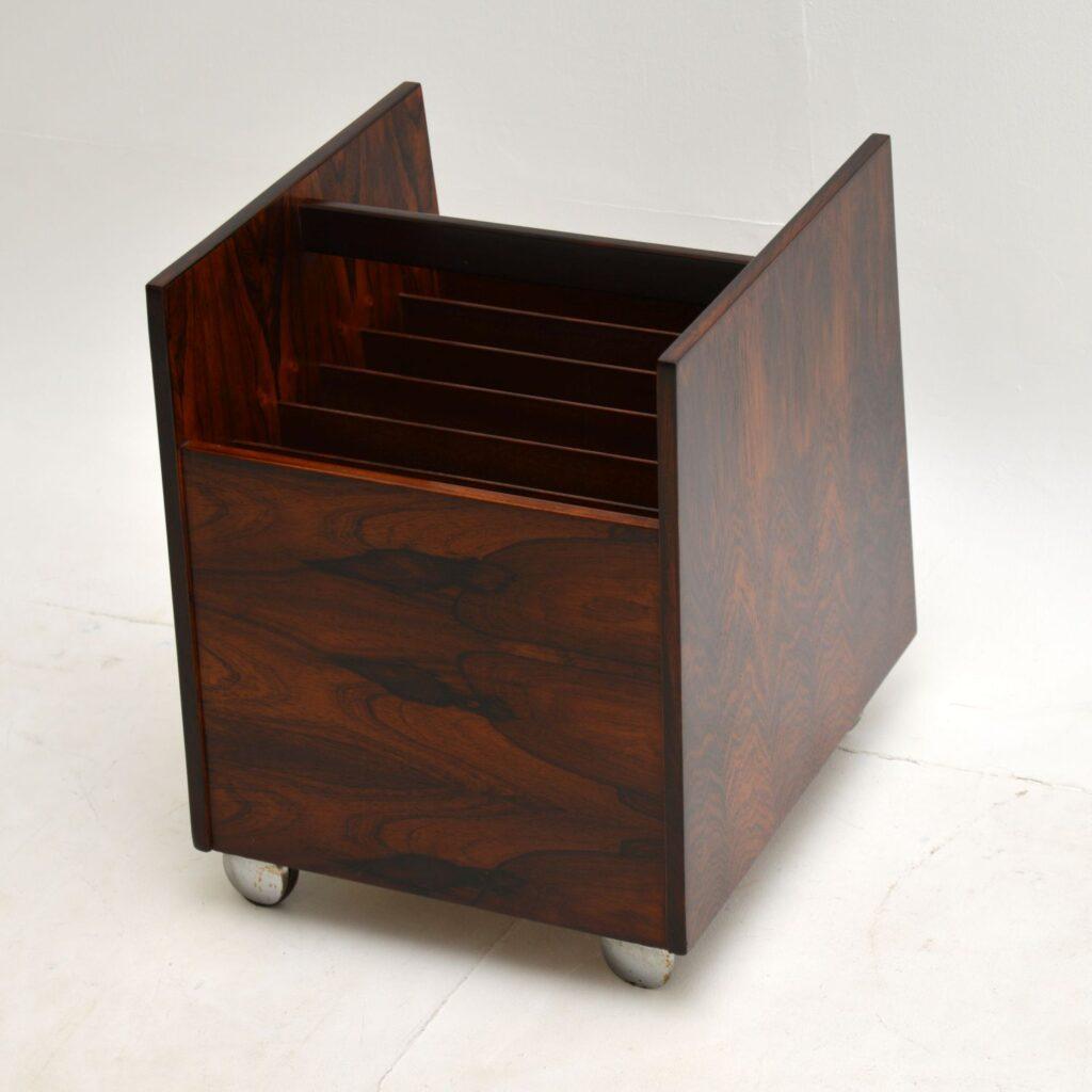 danish norwegian rosewood record rack magazine table bruksbo