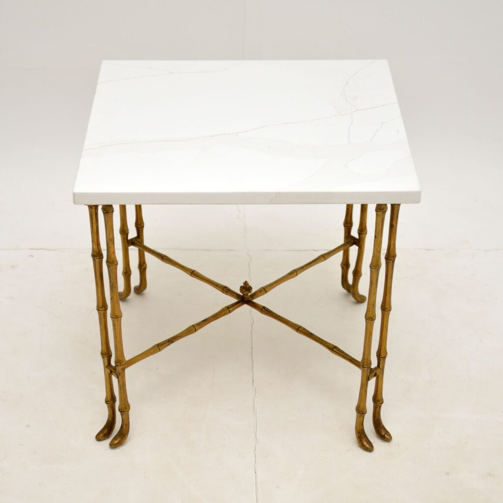 retro vintage antique brass marble coffee side table