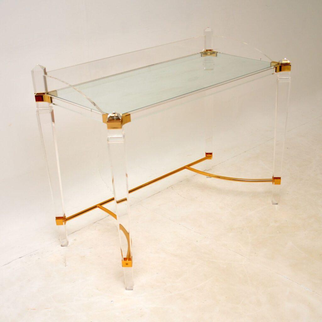 retro vintage lucite acrylic brass dressing table desk
