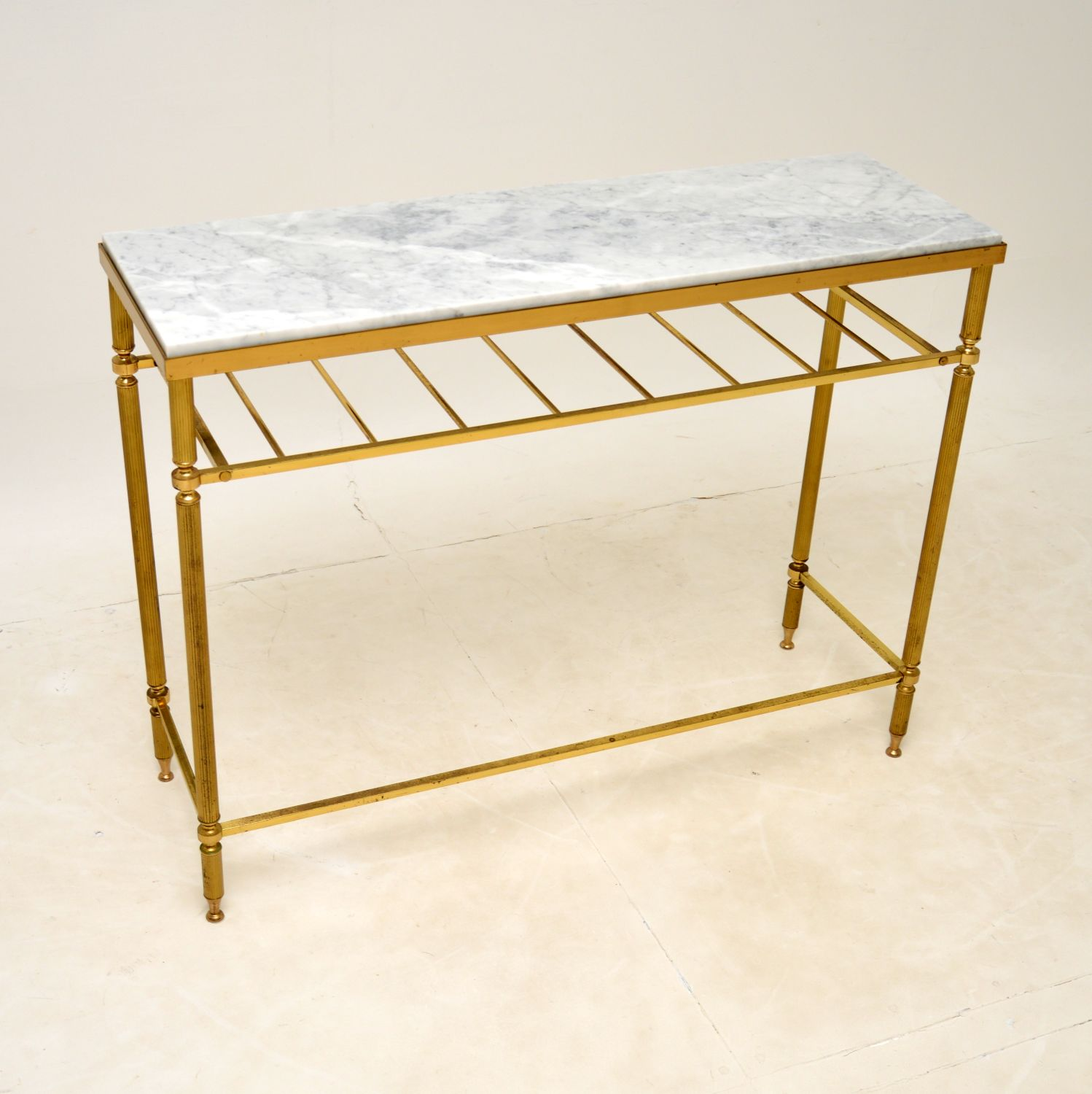 retro vintage french brass marble console table