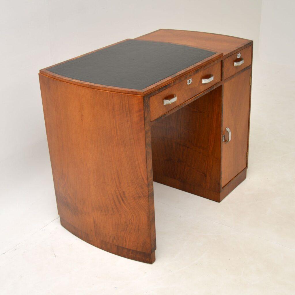 art deco walnut leather desk writing table