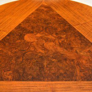 art deco burr figured walnut coffee table
