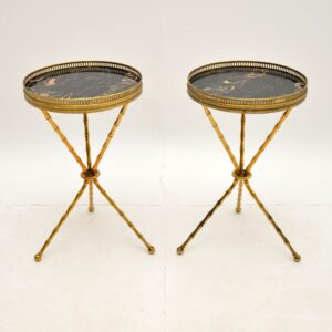 Pair of Vintage Brass and Marble Side Tables