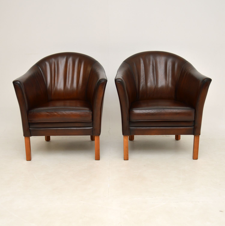 pair of retro vintage danish mogens hansen armchairs