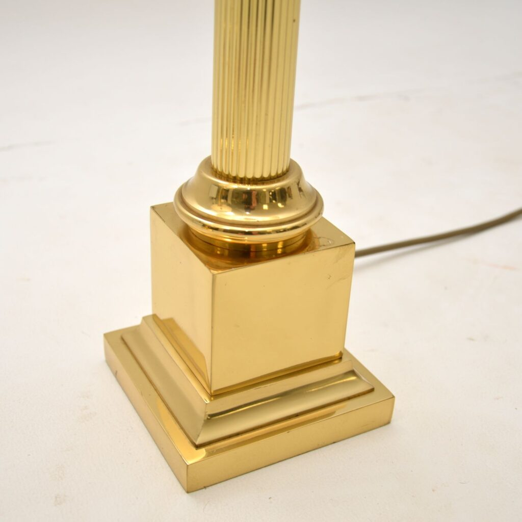 pair of retro vintage antique brass neoclassical table lamps