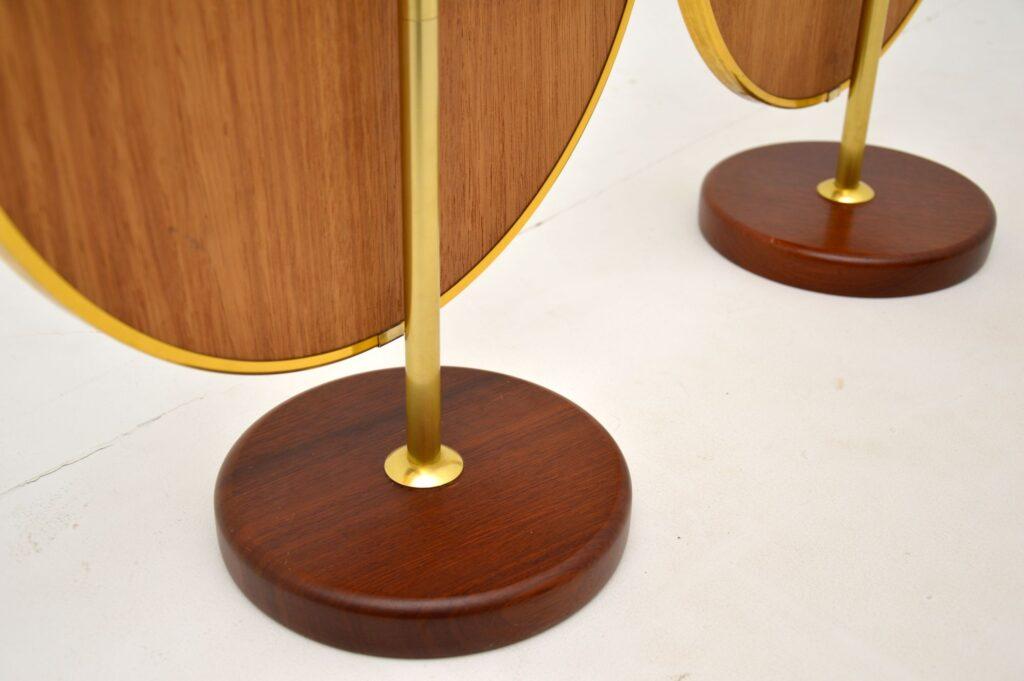 pair of retro vintage brass teak vanity mirrors