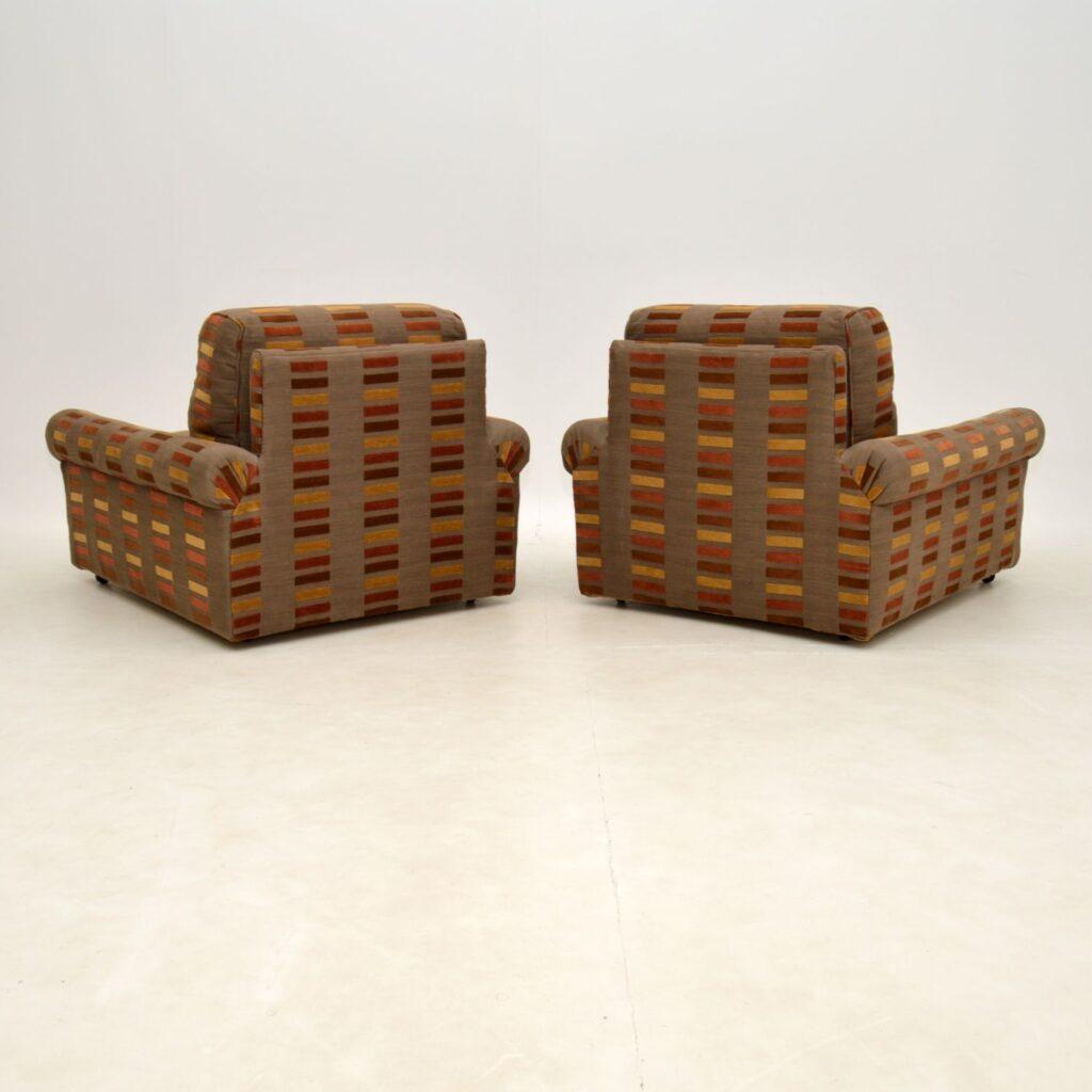 pair of retro vintage 1960's club armchairs