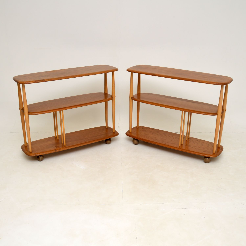 retro vintage pair ercol open bookcase