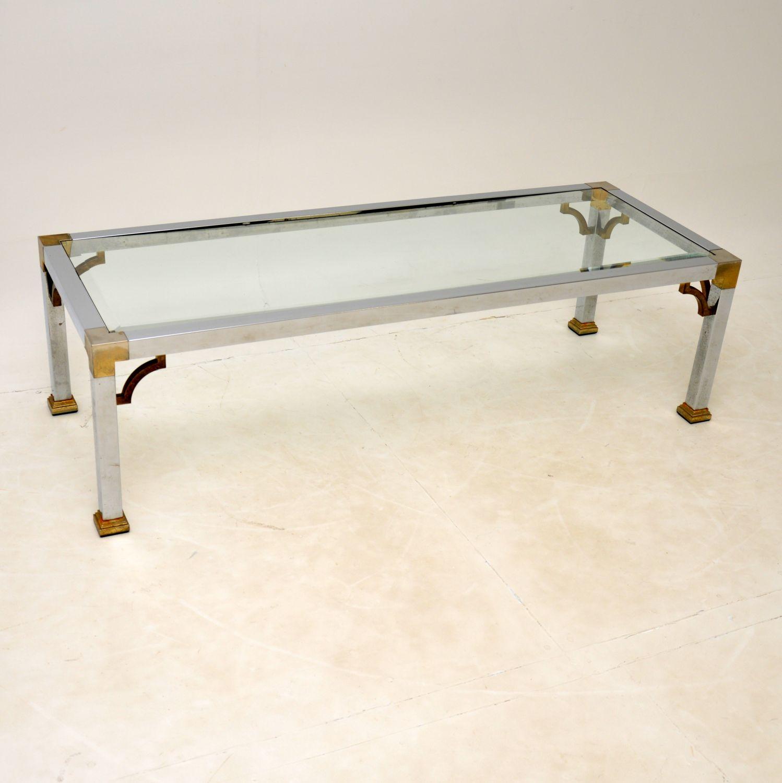 retro vintage brass glass aluminium coffee table