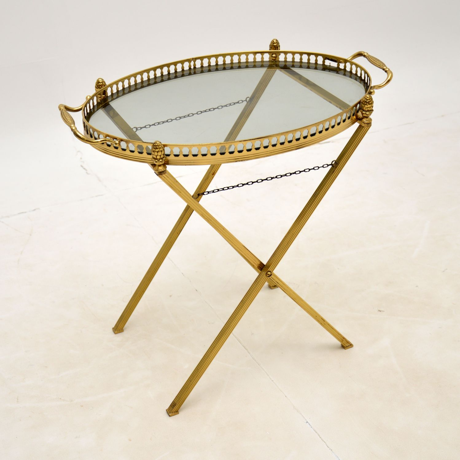 vintage retro french antique brass glass drinks trolley side table
