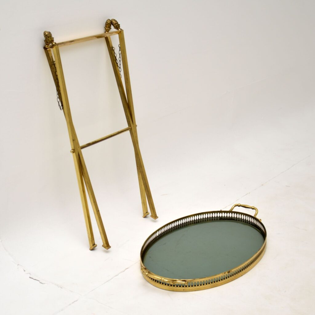 retro vintage antique french brass glass trolley side table