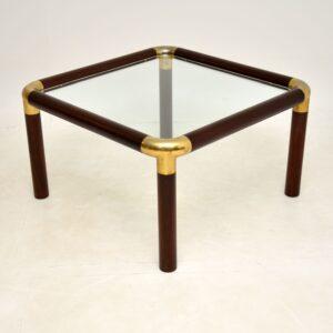 retro vintage brass mahogany glass coffee table