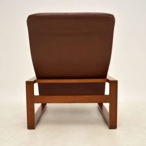 Vintage 1960's Leather & Rosewood Armchair