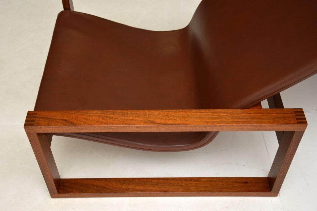 retro vintage danish rosewood leather armchair