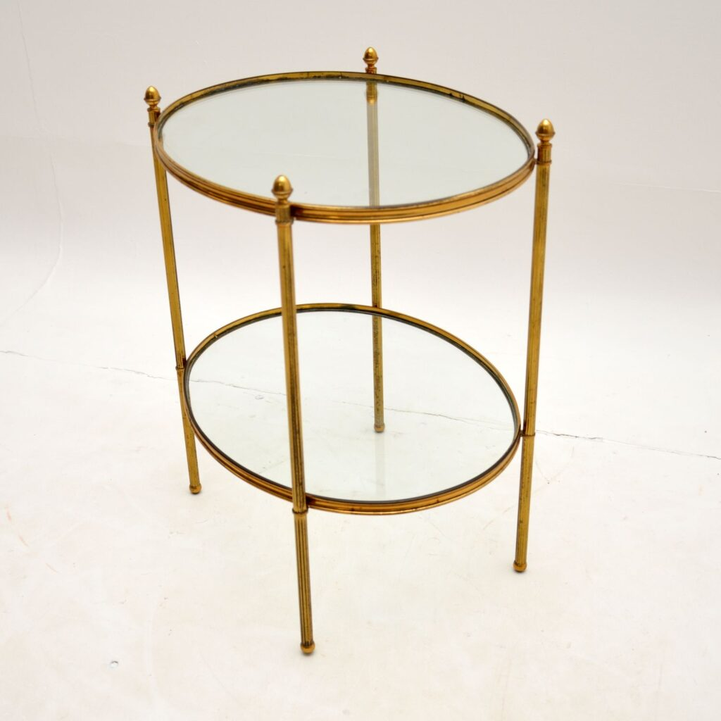 antique vintage retro french brass glass side table
