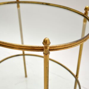 Vintage French Brass & Glass Side Table