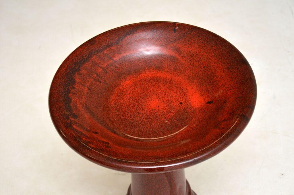 antique vintage retro porcelain glazed pottery flower bowl dish bird bath