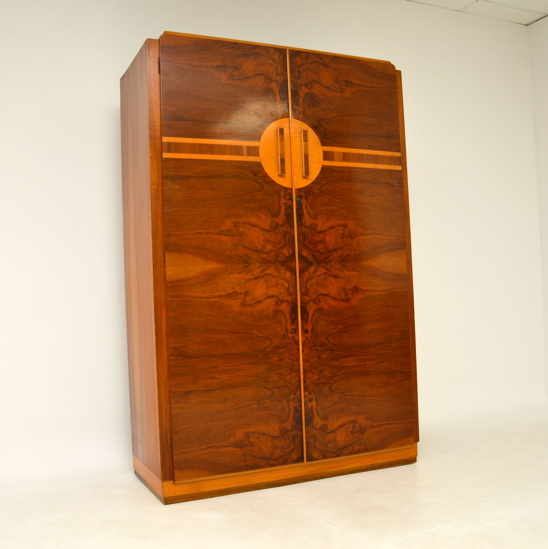 art deco figured walnut wardrobe