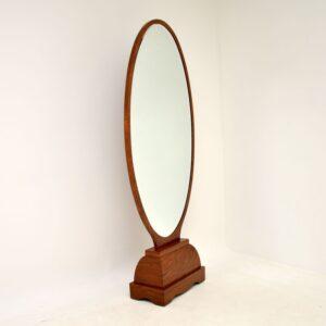art deco french walnut free standing floor cheval mirror
