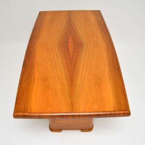 art deco figured walnut dining table