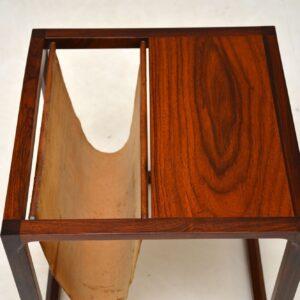 danish rosewood kai kristiansen side table magazine rack