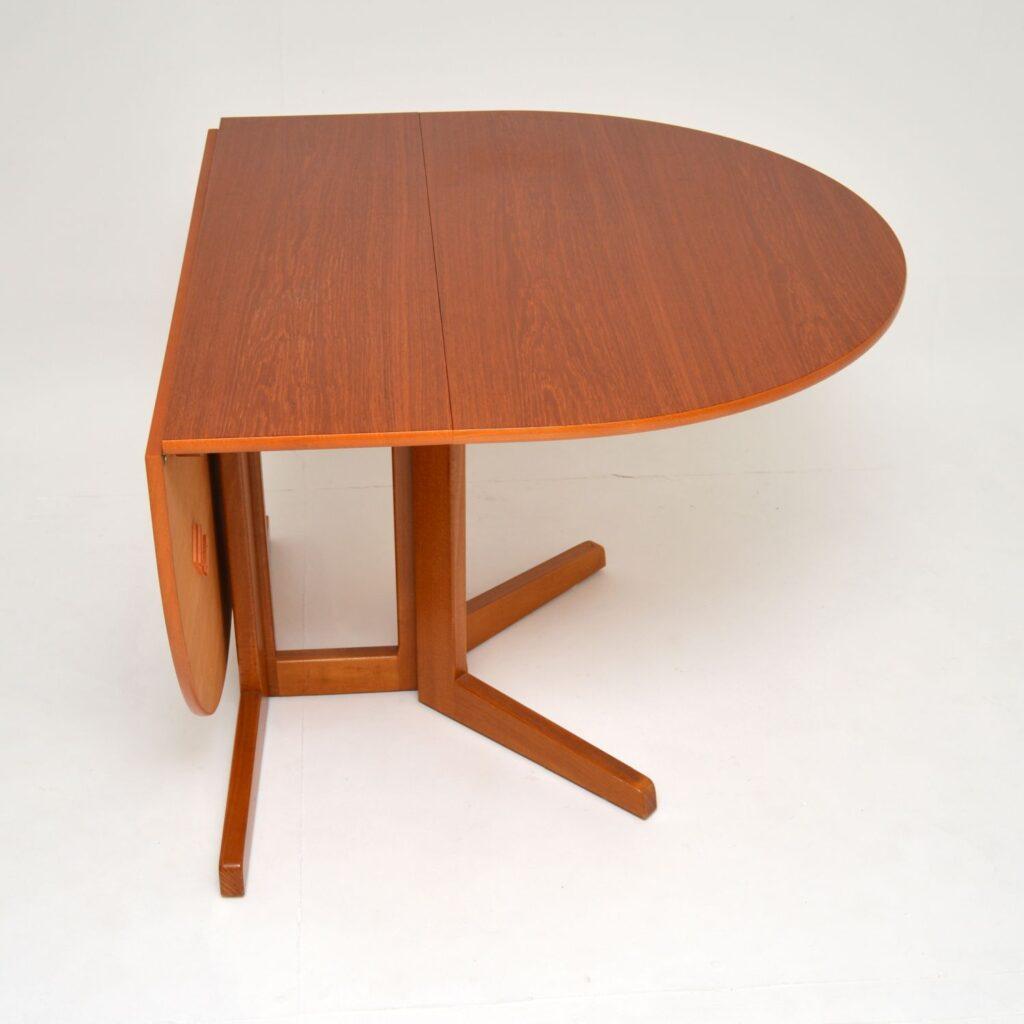 danish retro vintag teak drop leaf dining table