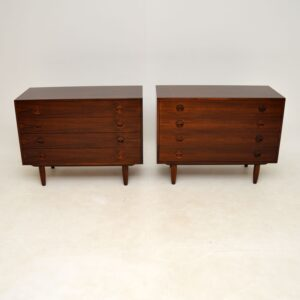 pair of danish rosewood retro vintage chest of drawers