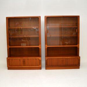 pair of retro vintage danish teak bookcases by dyrlund