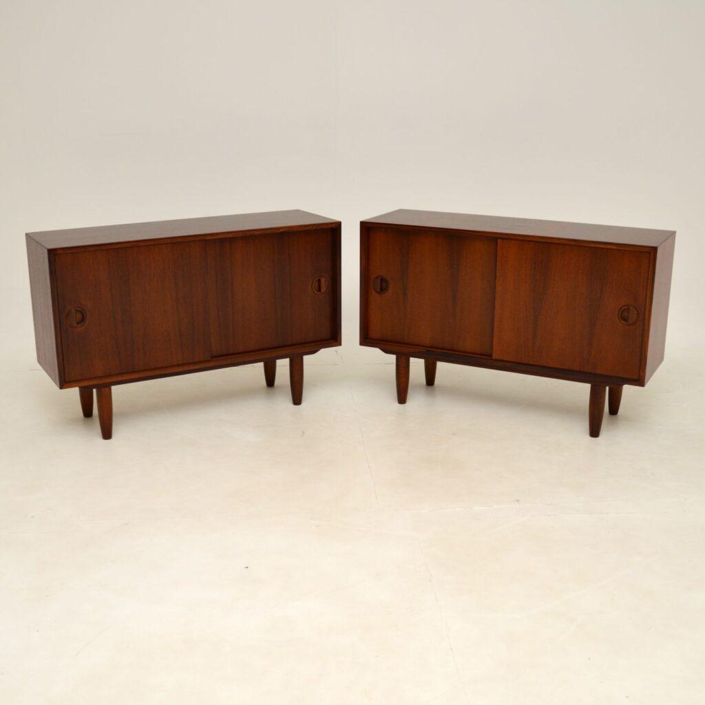 pair of danish retro vintage rosewood cabinets sideboard