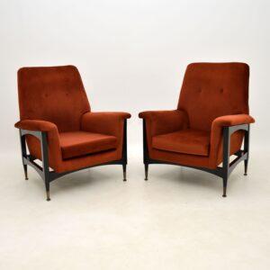 pair of retro vintage italian armchairs