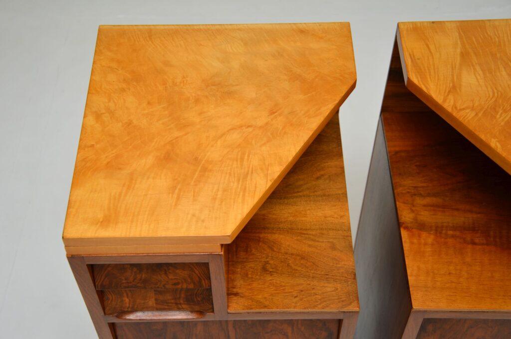 pair of retro vintage walnut bedside chests art deco