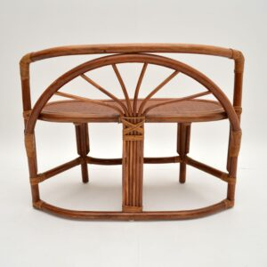 Vintage 1970's Bamboo & Rattan Games Table & Chairs