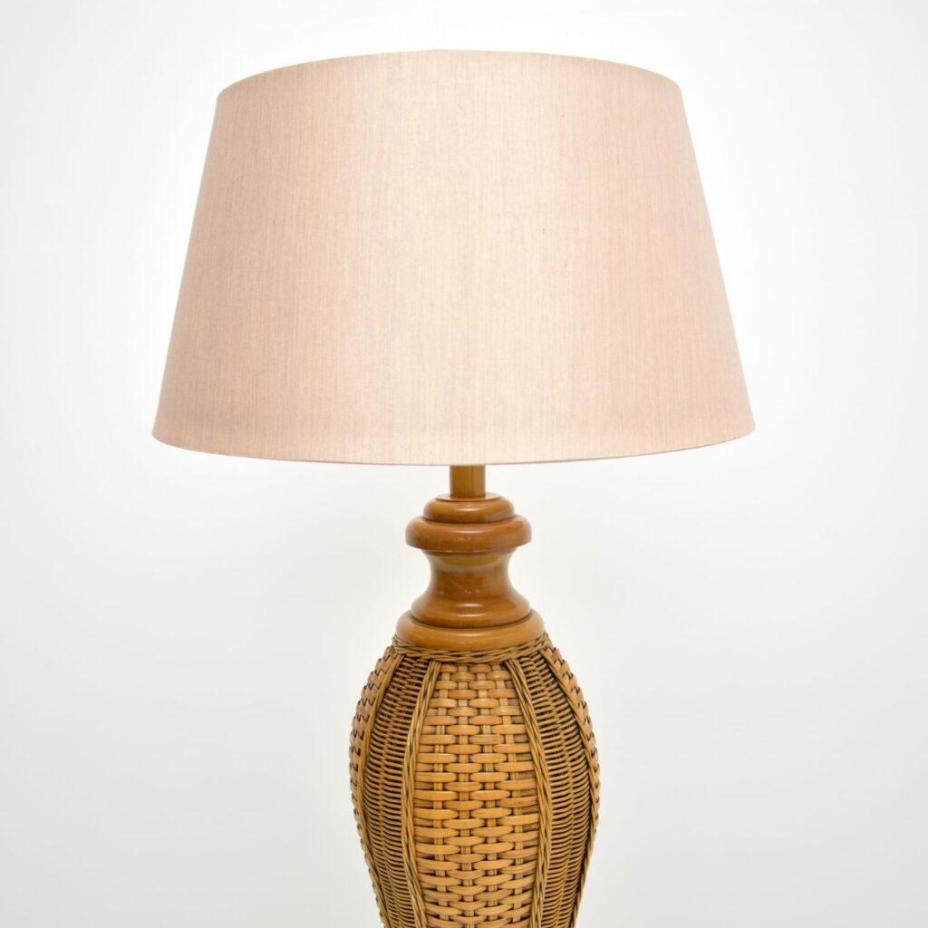 retro vintage woven rattan wicker bamboo floor lamp