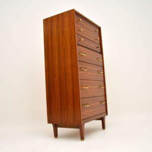 retro vintage walnut g plan tallboy chest of drawers
