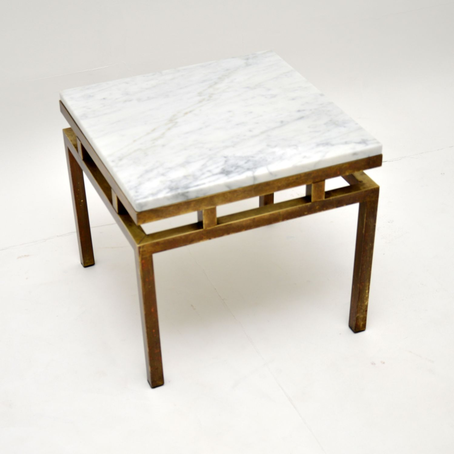 retro vintage italian solid brass marble coffee side table