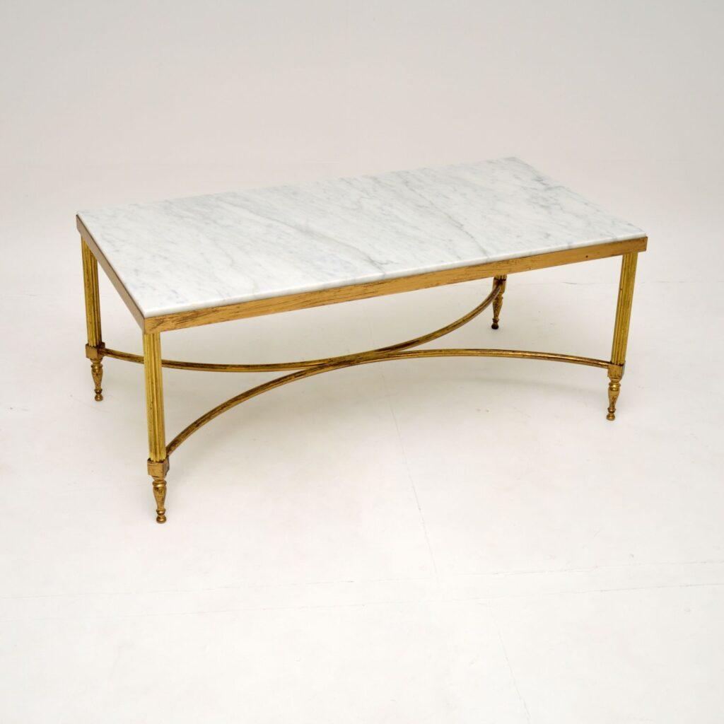 retro vintage italian brass marble coffee table