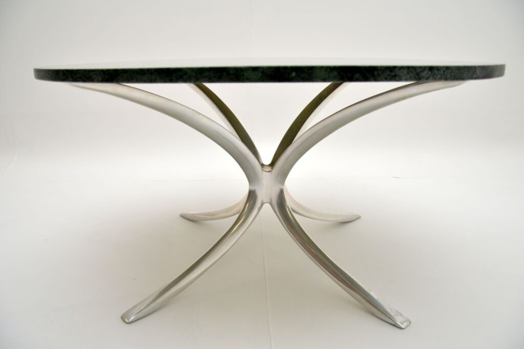 retro vintage marble chrome steel coffee table