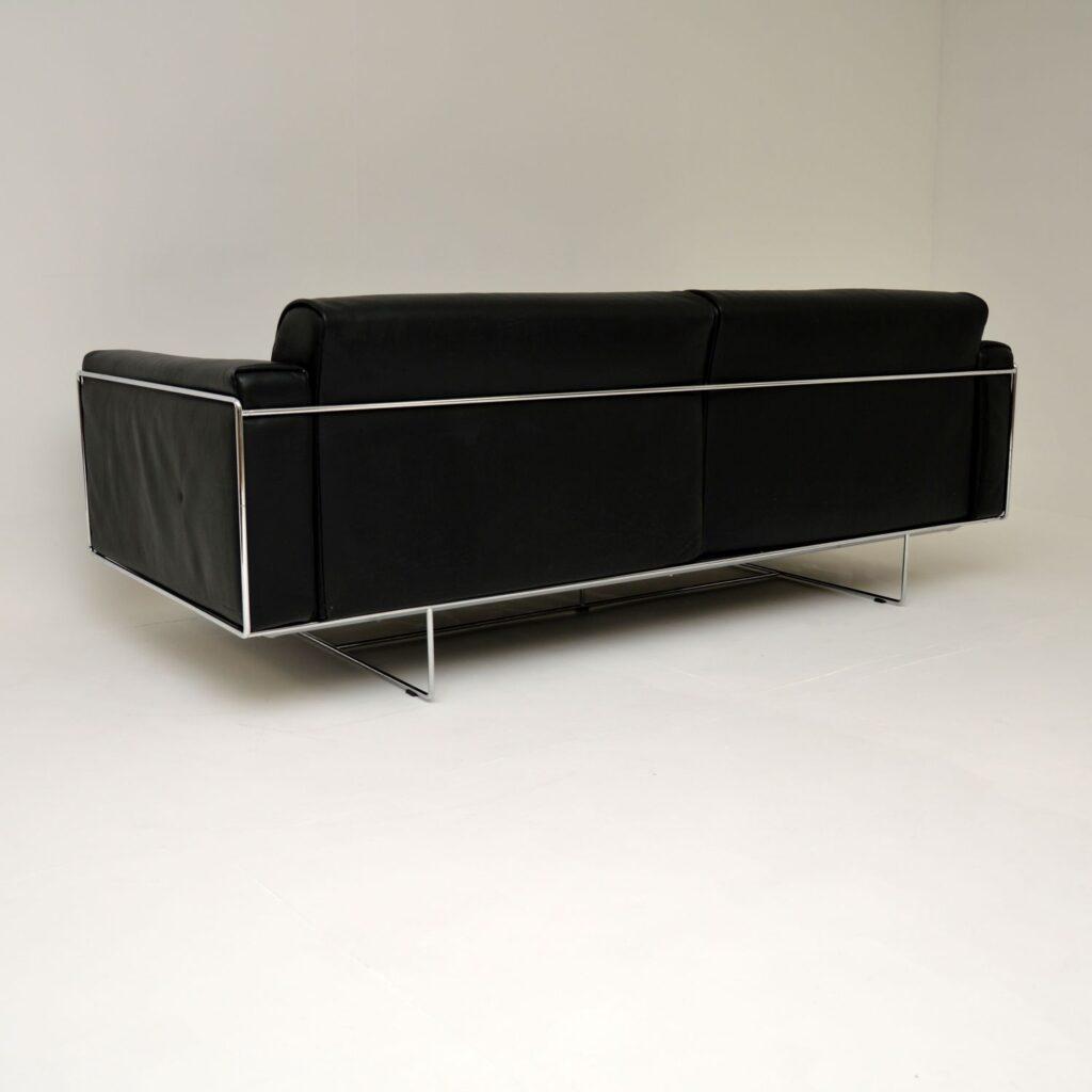 retro vintage italian leather chrome sofa matteo grassi