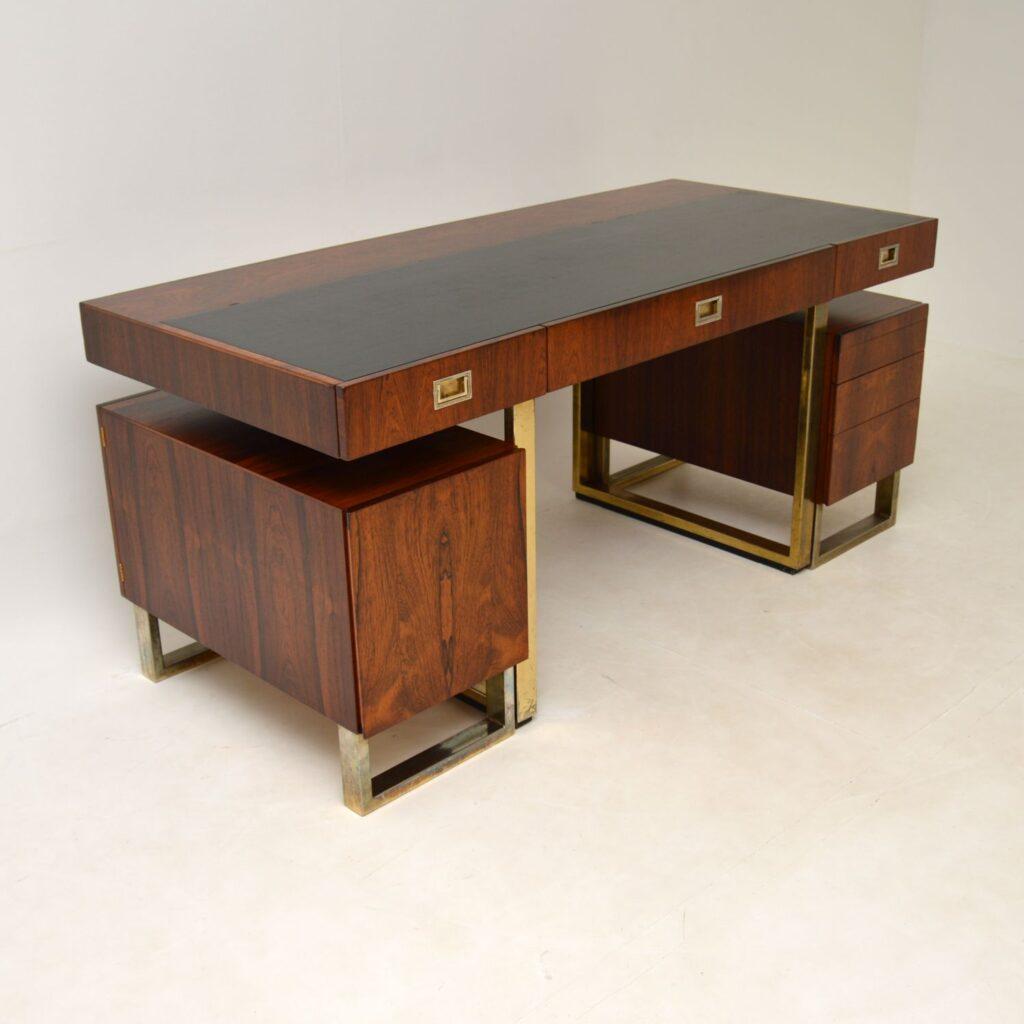 retro vintage rosewood brass leather partners desk