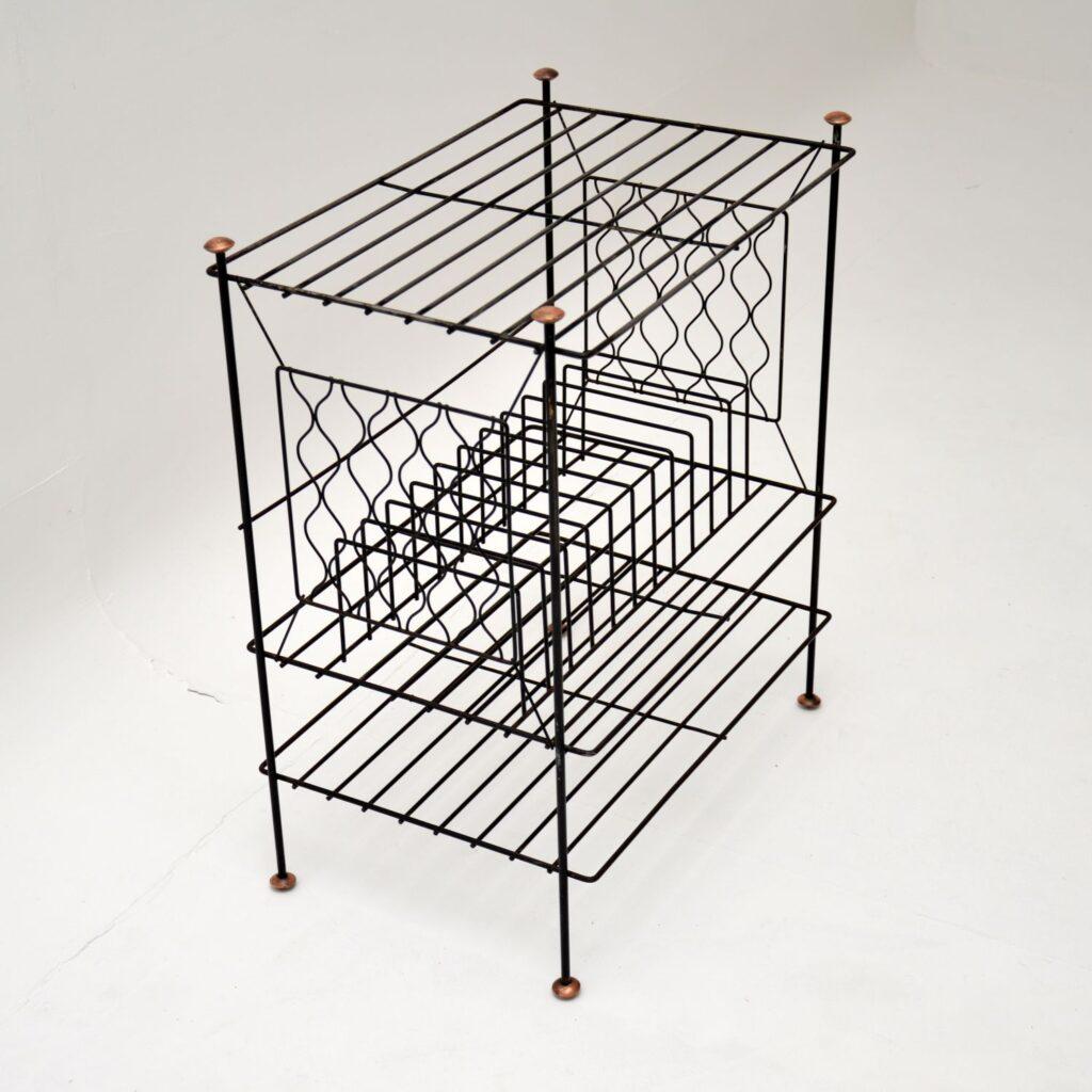retro vintage steel copper record rack table