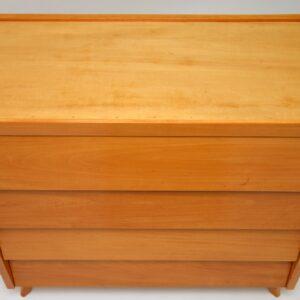 retro vintage satin birch walnut chest of drawers