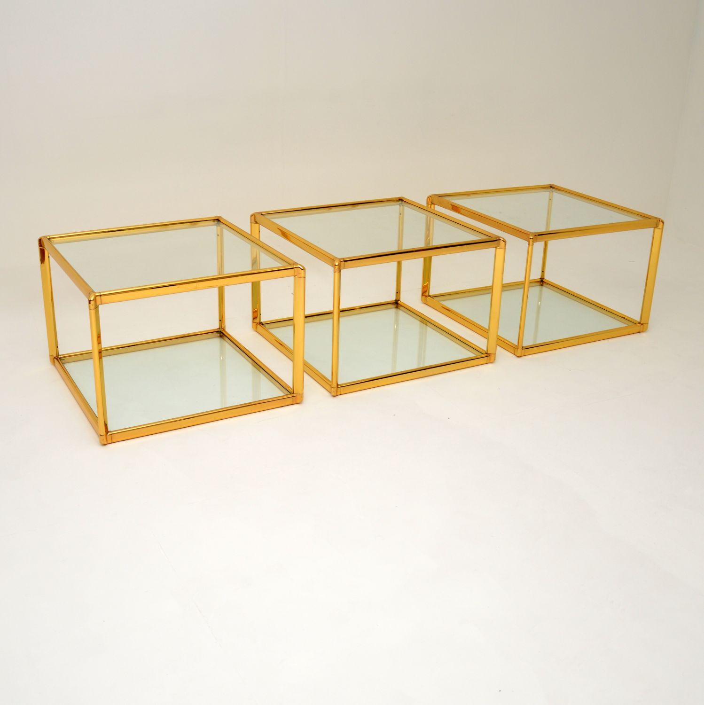 retro vintage brass glass side coffee tables