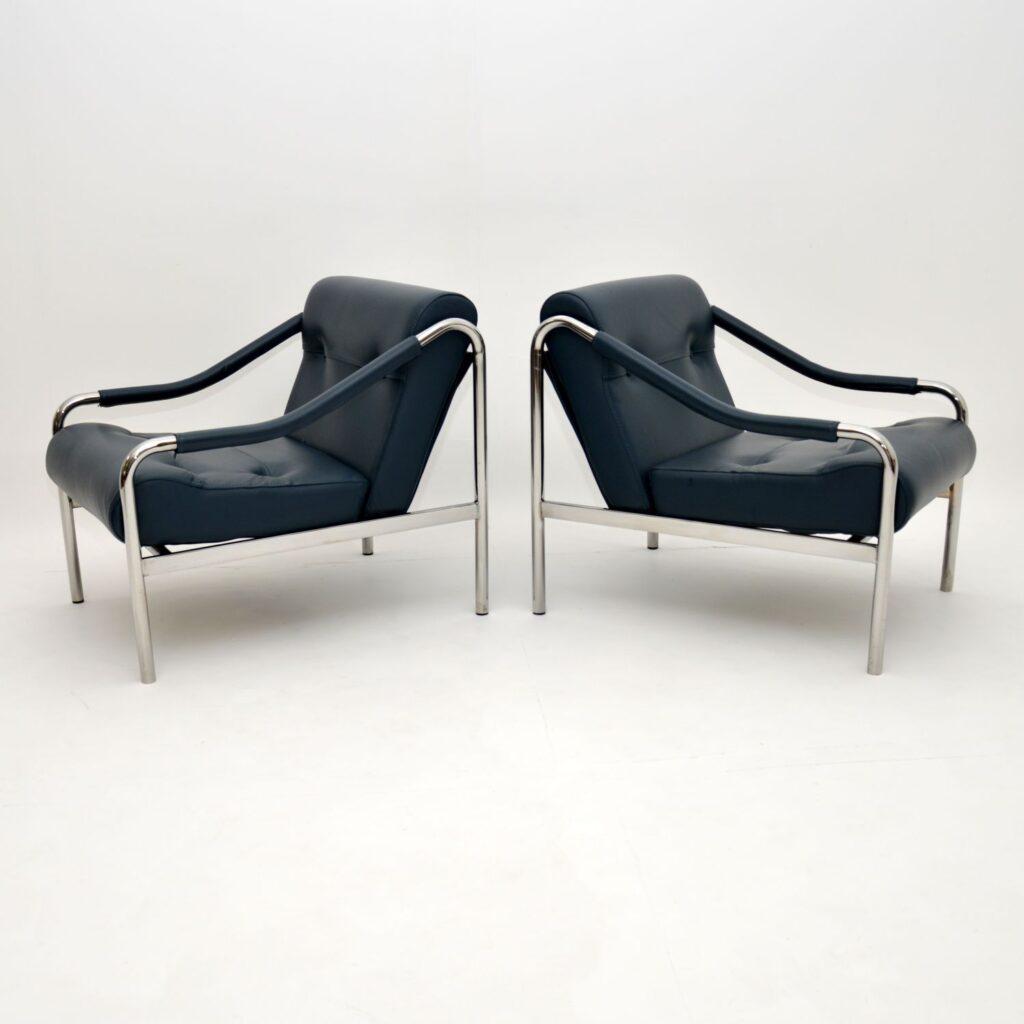 pair of retro vintage leather chrome armchairs beta pieff